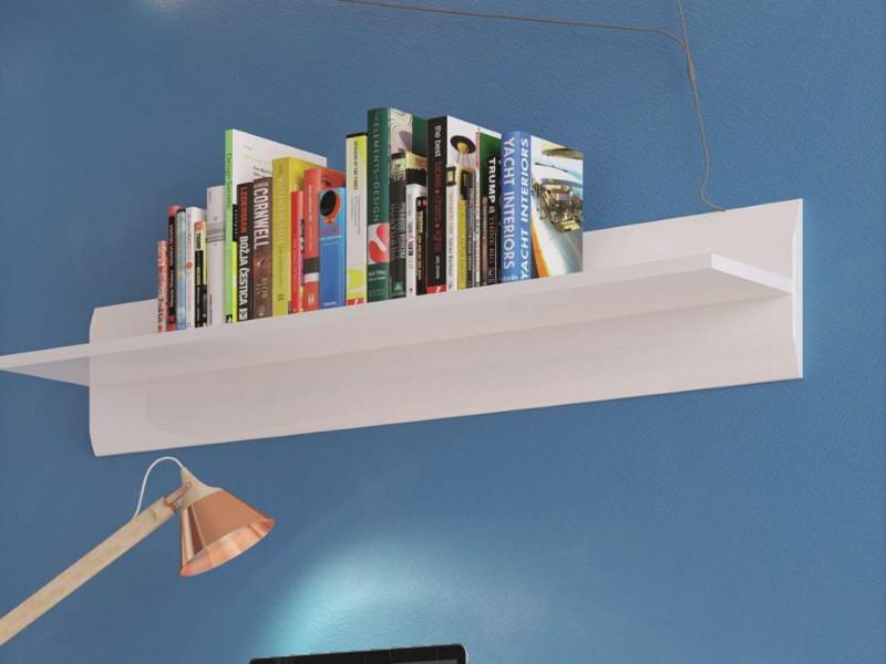 White High Gloss Modern Wall Mounted Shelf Floating Short Display Panel Bookshelf 105 cm - Azteca Trio (S504-P/2/11-BI/BIP-KPL01)