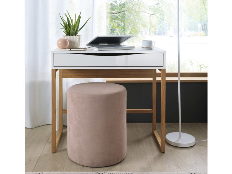 Modern Compact Console Dressing Table Desk with Drawer White Gloss & Solid Wood Pine Frame - Pori (L87-TOL-BIP/DP-KPL01)