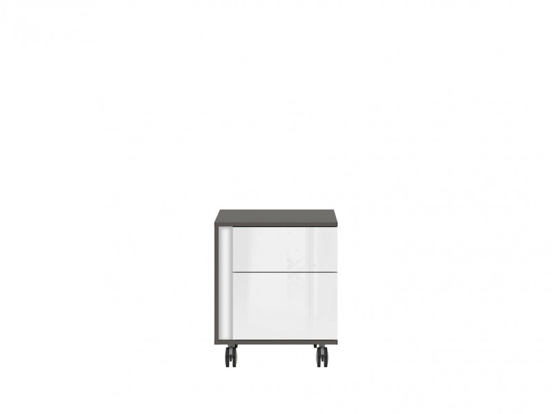 Pedestal Drawer Unit Home Office Mobile Storage Drawers Right in White Gloss Beige Grey - Graphic (KTN2SP)
