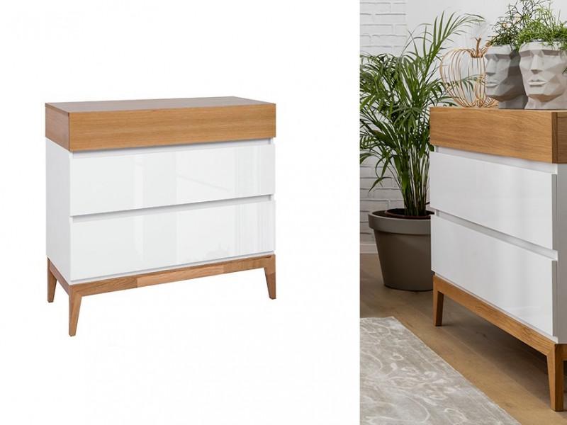 Scandinavian Chest of 3 Drawers Cabinet Storage Unit Wooden Elements White Gloss/Oak - Kioto (S425-KOM3S-BI/BIP/DNA-KPL01)