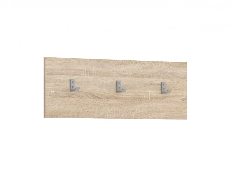 Modern Wall Mounted Coat Hook Hallway Entrance Hall with 3 Hooks and Sonoma Light Wood Effect Finish Panel - Nepo (S435-WIE/70-DSO-KPL01)