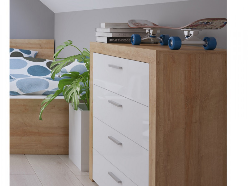 Modern Living Room Chest of 4 Drawers 90cm Cabinet Storage Unit Oak Effect and White Gloss - Balder (S382-KOM4S-DRI/BIP-KPL01)