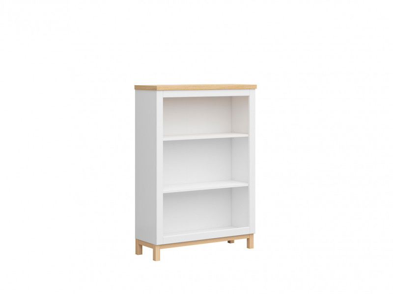 Scandinavian Bookcase Shelf Cabinet Small Open Shelving Unit in White & Oak - Haga (S369-REG/90-BIM/BIC-KPL01)