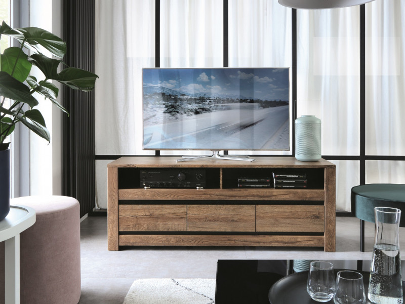Classic Media Table TV Stand Storage Cabinet Unit Oak/Grey - Kada (S404-RTV3S-DARL-KPL01)