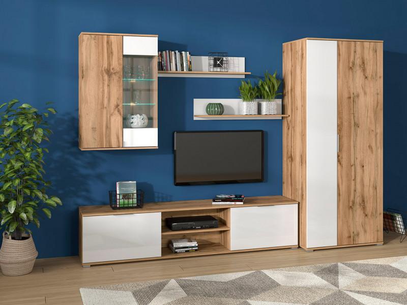 Modern Living Room Furniture Set in White Gloss / Oak finish TV Cabinet Display Unit Shelf - Zele (S383-LIVING1)