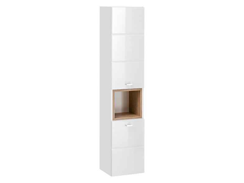 Modern Tall Wall Mounted Bathroom Cabinet Unit Wood Effect Sonoma White Gloss/White Mat - Finka (FINKA 800 White)