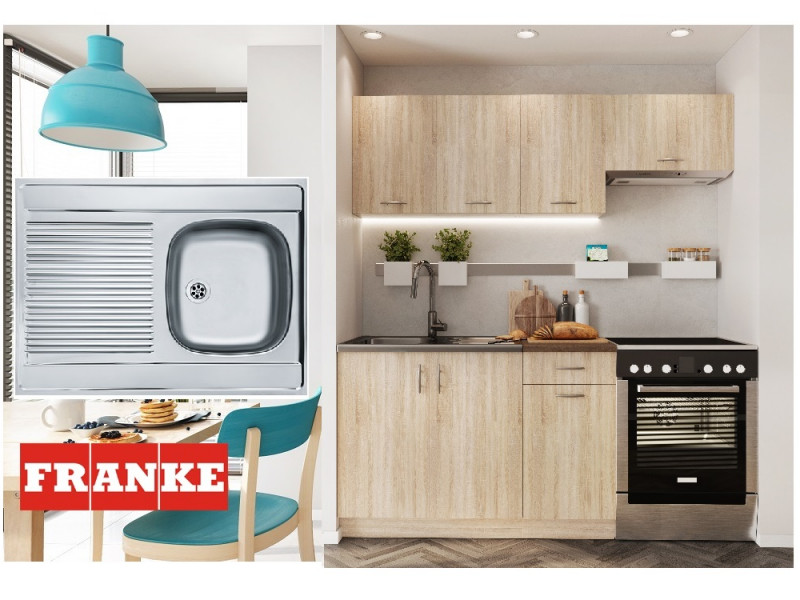 Complete Kitchen Set of 5 Cabinets Units Flat Pack in Sonoma Oak finish with Franke Sink – Nela 1 (STO-NELA_SET-5UNITS_1.2/1.8-SON-FRANKE)