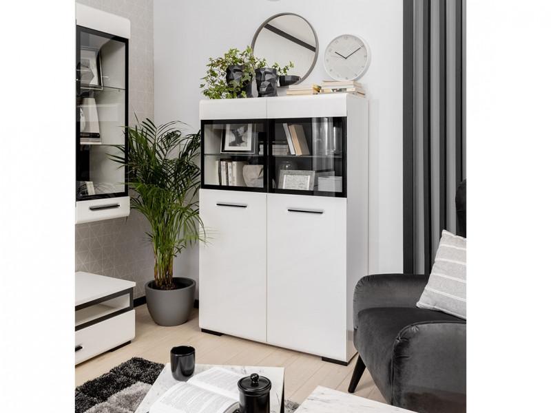 Modern White Gloss Large Glass Display Cabinet Dresser with LED Lights Storage Unit 100cm - Assen (S513-SFK2W/15/10-BI/BIP-KPL01+LEDS)