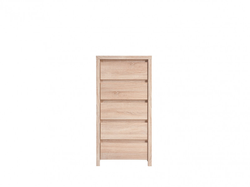 Modern Tallboy 5 Drawer Tall Slim Storage Chest of Drawers in Sonoma Oak - Kaspian (S128-KOM5S-DSO/DSO-KPL01)