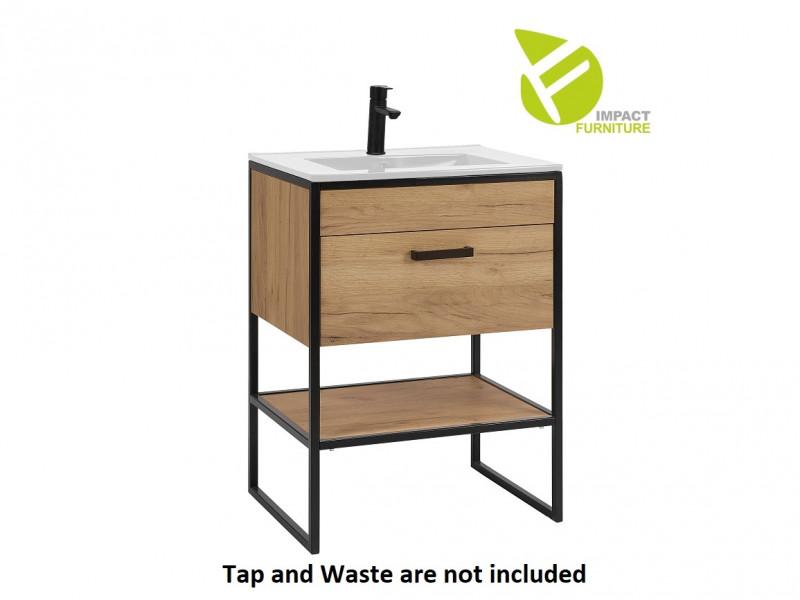 Industrial Free Standing Vanity Bathroom Cabinet Unit 60cm with Ceramic Sink Oak Black Metal - Brooklyn (BROOKLYN_820+CFP-60D_DP E-8003-60-WHT)
