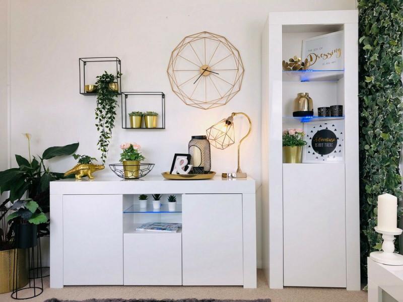Modern White High Gloss Blue LED Furniture Set: Sideboard / Lowboard & Tall Bookcase Glass Display Cabinet - Lily (HOF-LILY-2D1K+SLUPEK-BI/BIP-LED-BLUE)