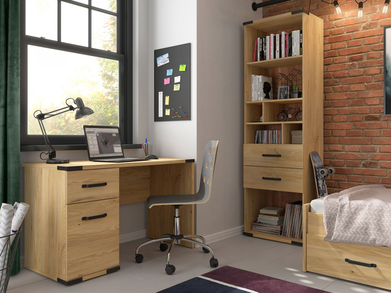Modern Industrial Study Home Office Set: Desk Cabinet and Storage Bookcase with Drawers Ash Effect - Lara (S463-LARA-OFFICE-SET-KPL01)