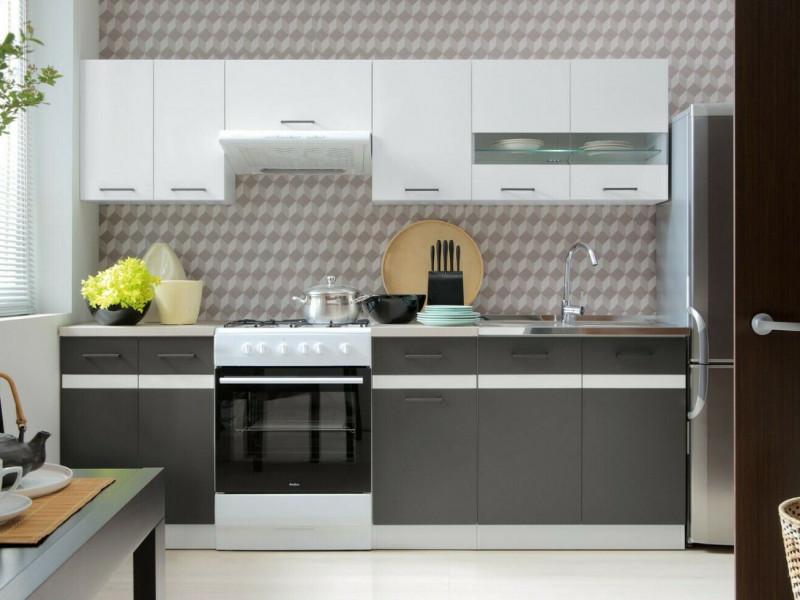 Modern Free Standing Grey/White Gloss Kitchen Cabinets Cupboards Set of 7 Base & Wall Units - Junona (K24-JUNONA_MODUL/240-BI/BIP/SZW/BNG-KPL01)