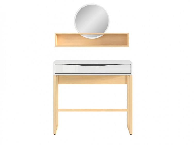 Modern Dressing Table & Mirror Shelf Extension in White Gloss/Oak - Pori (L87- set 2)