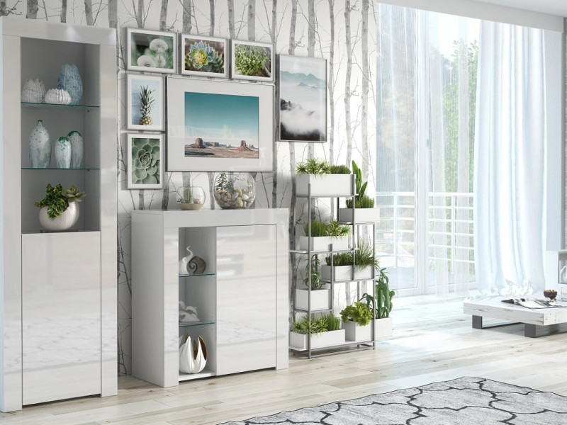 Modern White High Gloss Glass Display Cabinet Set: Tall & Compact Bookcase Units with Glass Shelving - Lily (HOF-KOM1D+SL)
