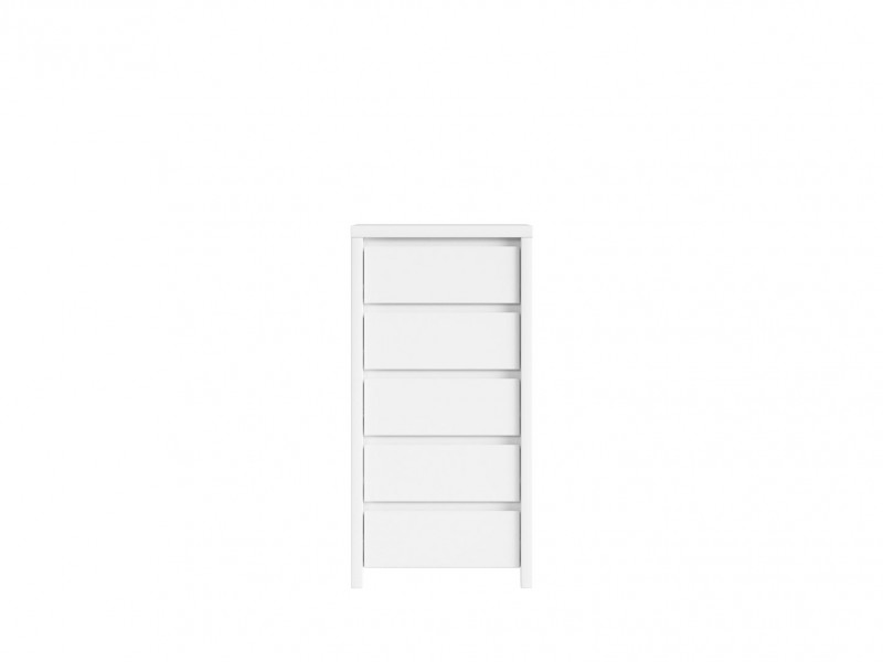 Modern Tallboy 5 Drawer Tall Slim Storage Chest of Drawers in White Matt - Kaspian (S128-KOM5S-BI/BIM-KPL01)