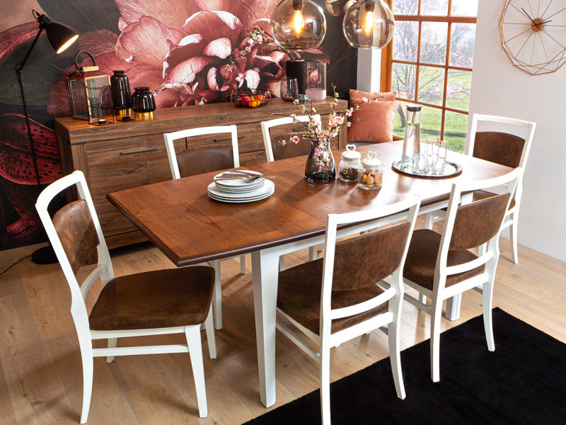Classic Wood Dining Room Furniture 5-Element Table Chairs Set White/Acacia - Kalio (D09-TXK_KALIO-DINING SET)