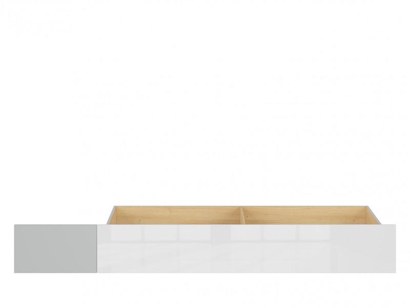 Modern Underbed Drawer on Wheels for Single Bed Frame Storage Unit White Gloss/Grey/Oak - Nandu (S441-SZU-JSZ/DP/BIP-KPL01)