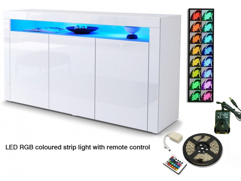 White High Gloss Sideboard Modern Unit Display Cabinet with RGB LED Light - Lily (KOM3D+RGB)