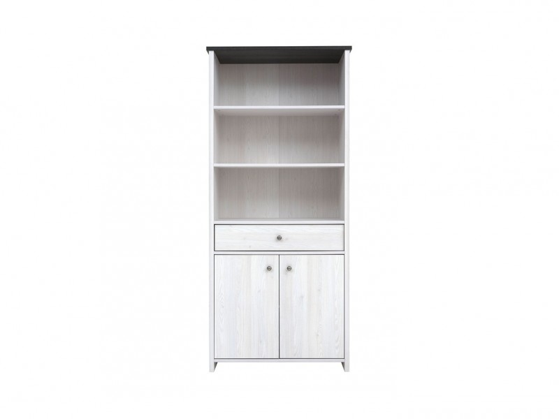 Bookcase Tall Cabinet Shabby Chic White Wash Wood Effect - Porto (S322-REG2D1S-MSJ-KPL01)