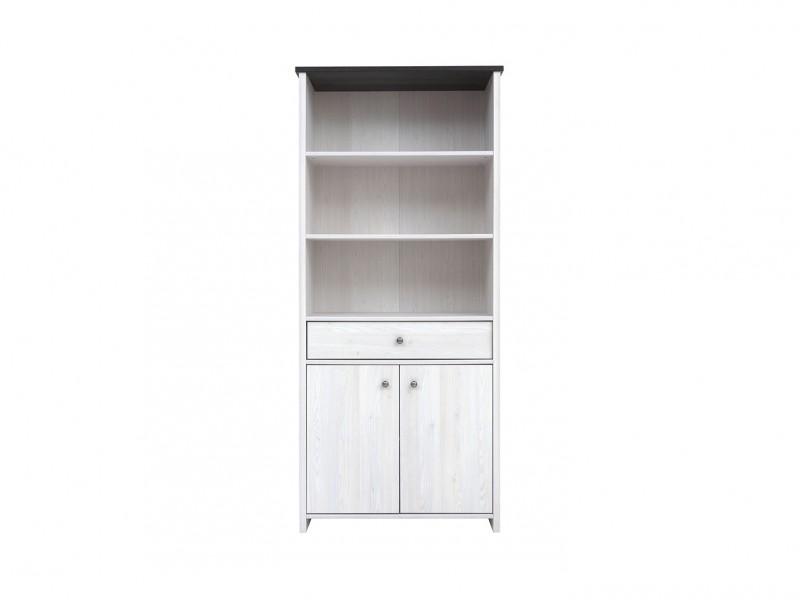 Bookcase Tall Cabinet Shabby chic white wash finish / Oak finish - Porto (S322-REG2D1S-MSJ-KPL01)