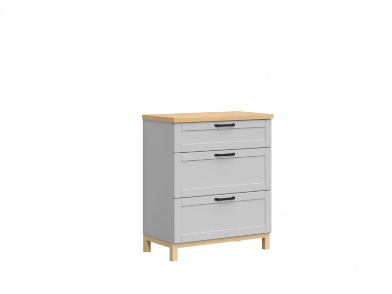 Scandinavian Chest of Drawers in Grey & Oak - Haga (KOM3S)