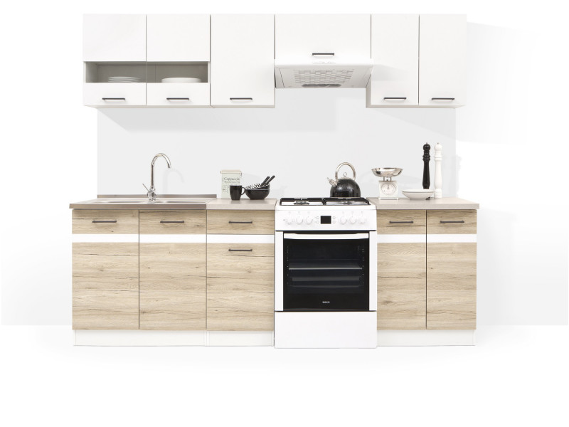 Kitchen Cabinets Set of 7 Units DIY Kitchen White Gloss & Oak finish - Junona (JUNONA SAN REMO)