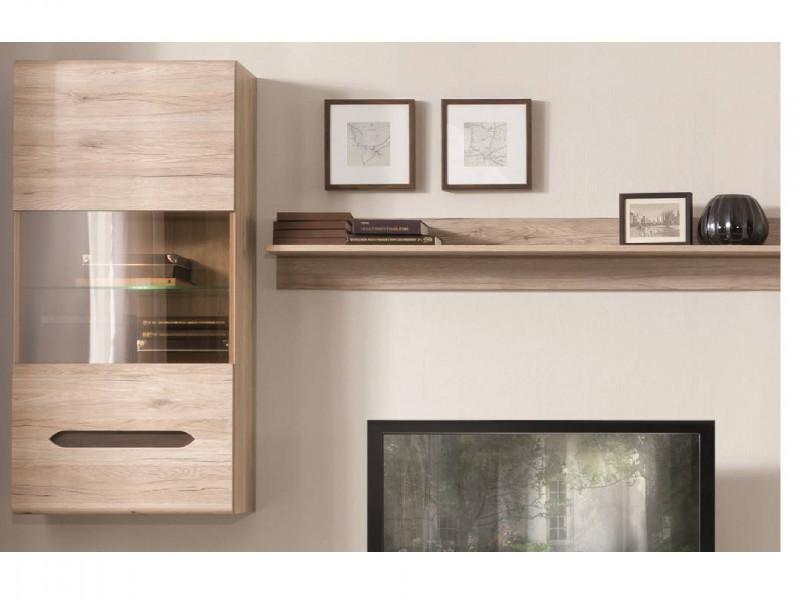 Modern Wall Mounted Display Cabinet Unit One Glazed Door and LED in Light Oak Effect Finish - Elpasso (S314-SFW1W-DSAJ/DWB-KPL01+LED)
