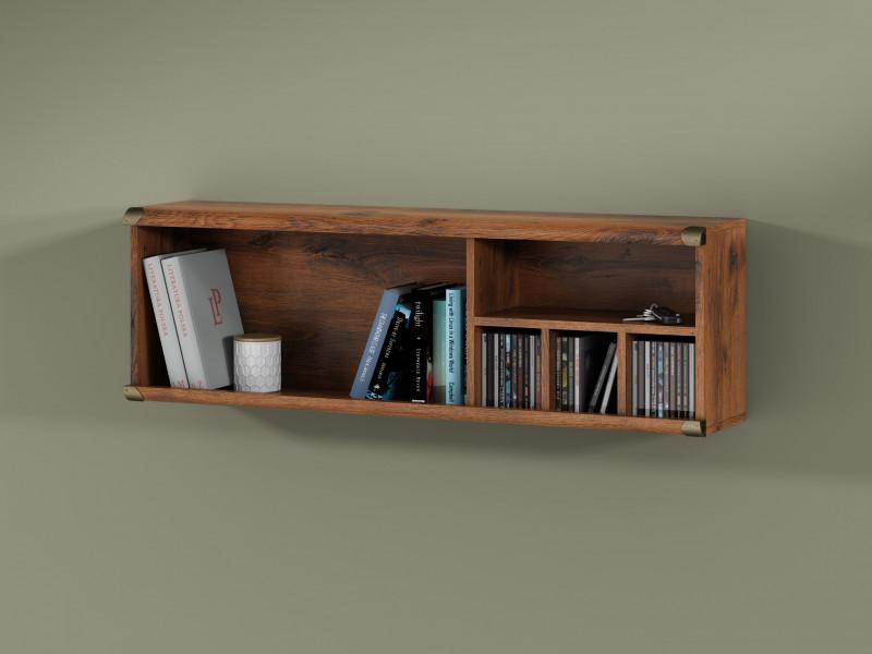 Modern Wall Mounted Floating Shelf Storage Cabinet with 5 Compartments in Dark Oak Effect Finish - Indiana (S31-JPOL120-DSU-KPL02)