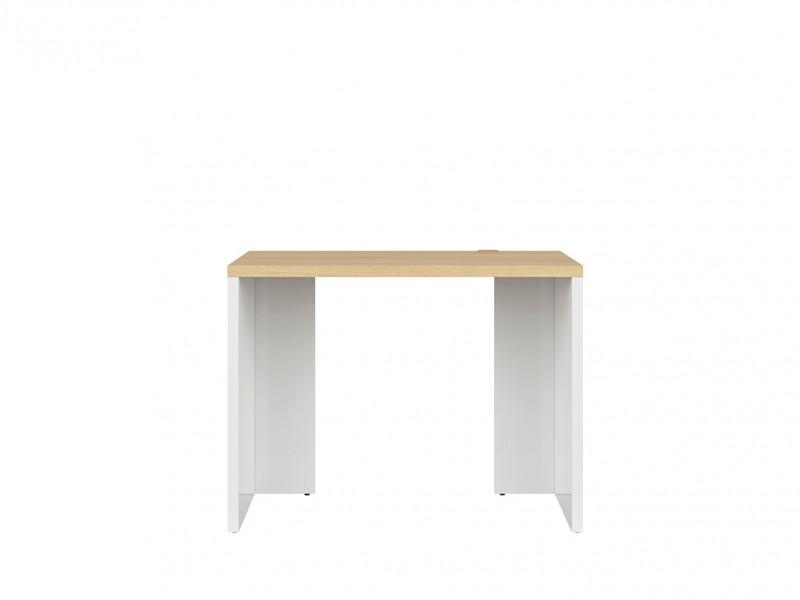 Modern Compact Study Home Office Desk 100 cm White Gloss/Oak Finish - Denton (S416-BIU/100-BIP/DP-KPL01)