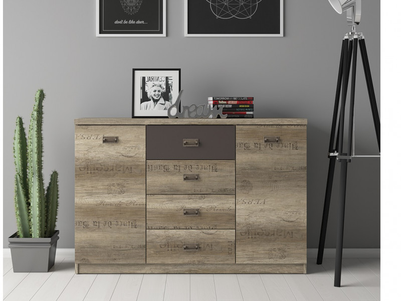 Urban Large 130cm Sideboard Dresser Cabinet Storage Unit with 2 Doors and 4 Drawers Oak Effect and Grey Finish -  Malcolm (S325-KOM2D4S-DAMO/SZW/DAMON-KPL01)