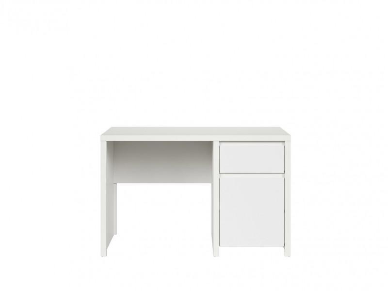 Modern White Desk for Office Study Computer with Cabinet and Drawer - Kaspian (S128-BIU1D1S/120-BI/BI-KPL01)