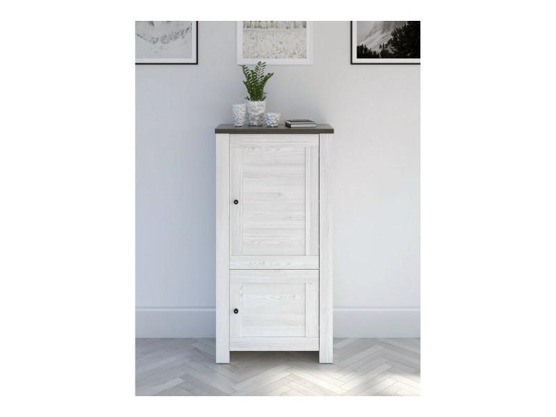 Tall Cabinet Shabby Chic Scandinavian Style White Wash - Antwerpen (S214-REG2D/14/7-MSJ/SOL-KPL01)