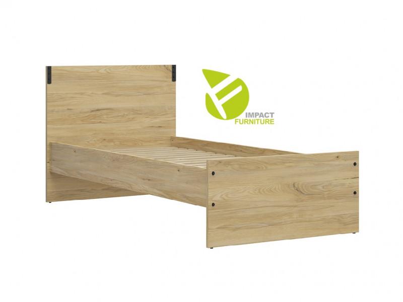Modern Industrial Chic Single Bed Frame High Headboard Solid Wood Slats Belarus Ash Effect - Lara (S463-LOZ/90-JBE-KPL01+WKLAD/90)