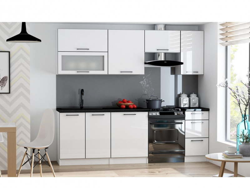 Scandinavian Style Kitchen White High Gloss Cabinets Cupboards 7 Unit Set  - Roxi (Roxi 7UnitSet)