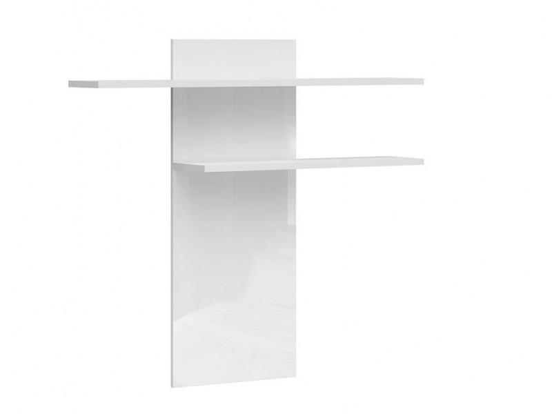 Modern Double Shelf Wall Mounted Panel Unit 130cm White/White Gloss - Assen (S513-PAN/12/13-BI/BIP-KPL01)