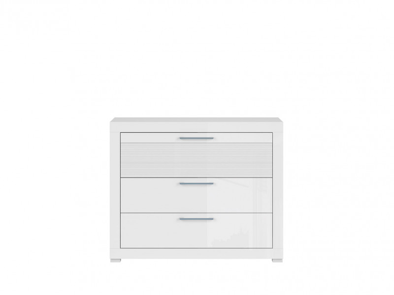 Modern Living Room Chest of 3 Drawers Storage Unit  White/White Gloss - Flames (S428-KOM3S-BIP-KPL01)