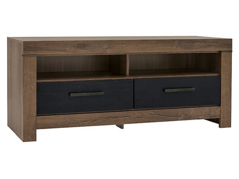 Modern Living Room TV Cabinet Media Bench Storage Cabinet Unit with Drawers Black/ Oak - Balin (S365-RTV2S-DMON/DCA-KPL01)