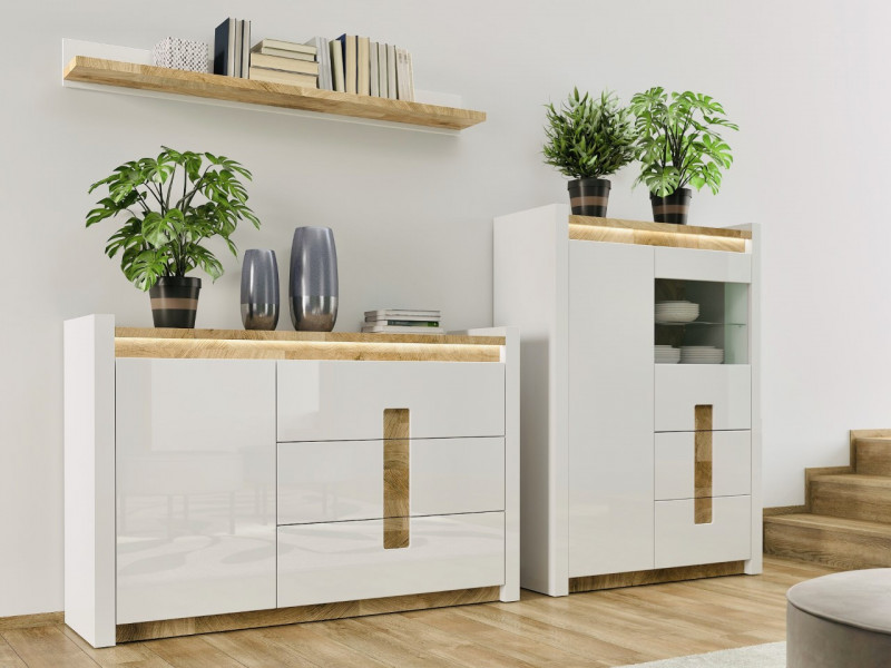 Modern White Gloss Living Room Furniture Set Display Cabinet Sideboard Wall Shelf LED Lights Oak finish - Alameda (ALAMEDA-LOUNGE1)