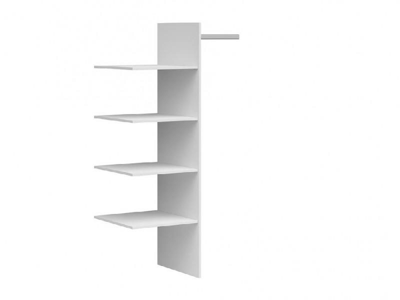 White Shelving Insert for Assen Double Wardrobe 4 x 37cm Shelves and 1 x 37cm Hanging Rail - Assen (S513-WKSZF/97_OPCJA-BI-KPL01)