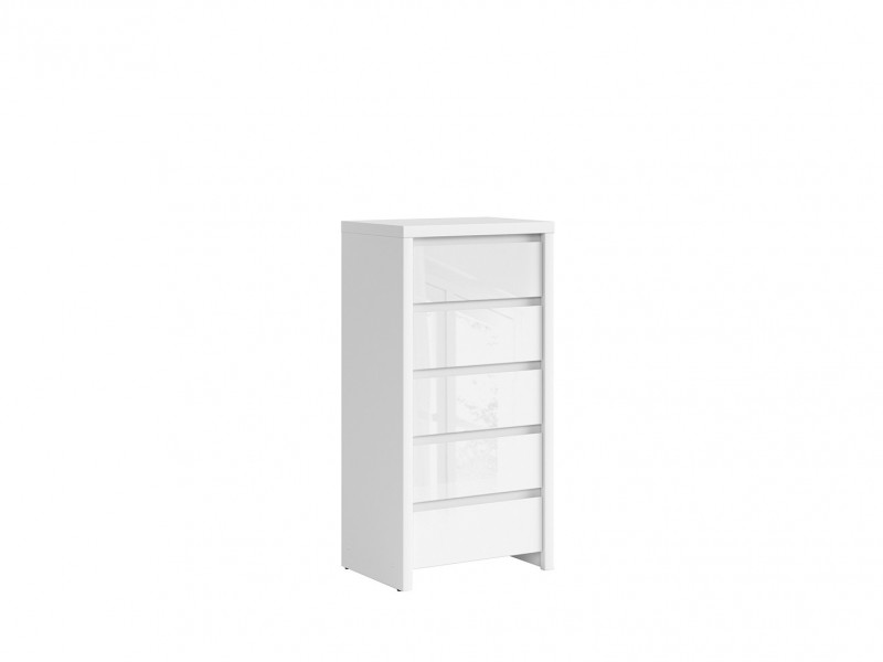 White Gloss Tallboy Tall Chest of Drawers - Kaspian W (KOM5S)