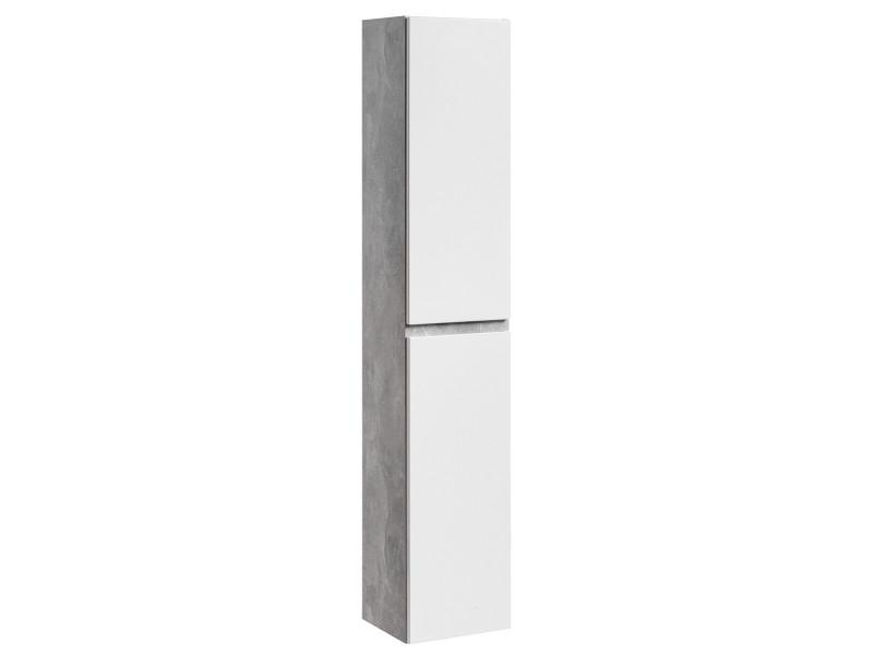 Modern Tall Wall Bathroom Cabinet Unit 160cm White Gloss/Concrete - Atelier (ATELIER 800)
