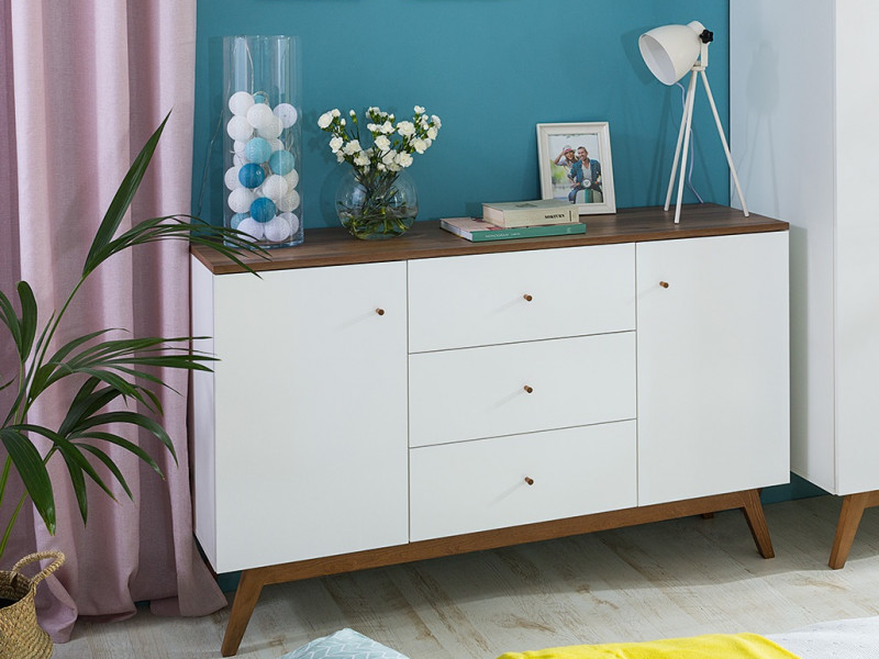 Scandi White Gloss/Walnut Finish 2-Door Sideboard Compact Chest of 3-Drawers Wooden Legs - Heda (S385-KOM2D3S-BI/MSZ/BIP-KPL01)