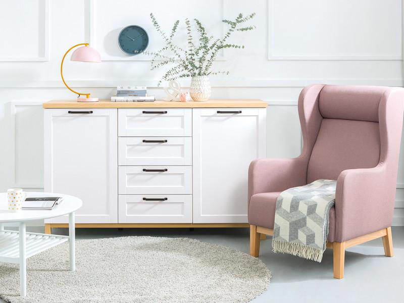 Large Scandinavian Sideboard Dresser Cabinet with Drawers White & Oak - Haga (KOM2D4S)