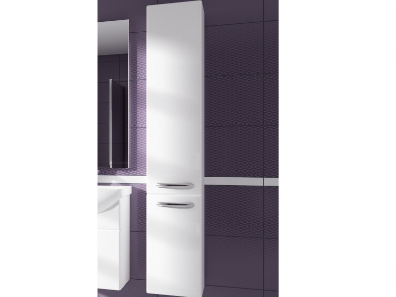 ​Tall Narrow Bathroom Wall Mounted Unit Cabinet White High Gloss - Coral (Coral W30SŁ P/L & D30 P/L White)