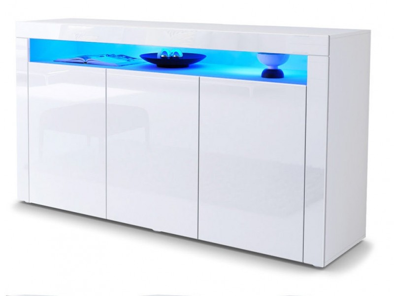 White High Gloss Sideboard Modern Unit Display Cabinet & blue LED Light - Lily (KOM3D+BlueLED)