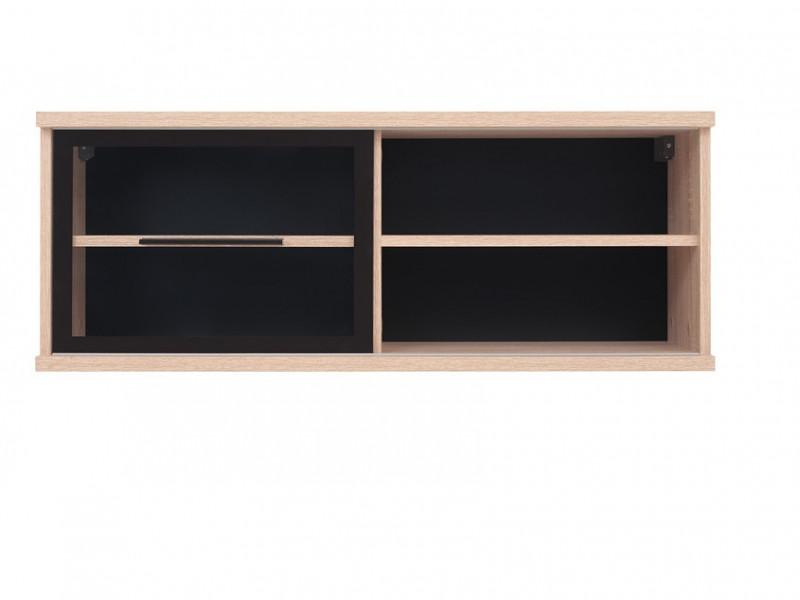 Modern Glass Wall Mounted Display Cabinet Shelf Unit Sliding Glass Door Sonoma Oak - Fever (S182-SFW1W/4/10-DSO/CA-KPL01)