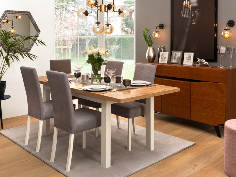 Scandinavian 5-Piece Dining Room Furniture Set Table and 4 Chairs White/Oak/Grey - Holten (S440-HOLTEN_DINING_SET)