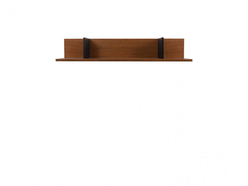 Retro Wall Mounted Display Floating Panel Short Shelf 95cm Living Room Black/ Brown Oak - Madison (S431-POL/95-DABR-KPL01)