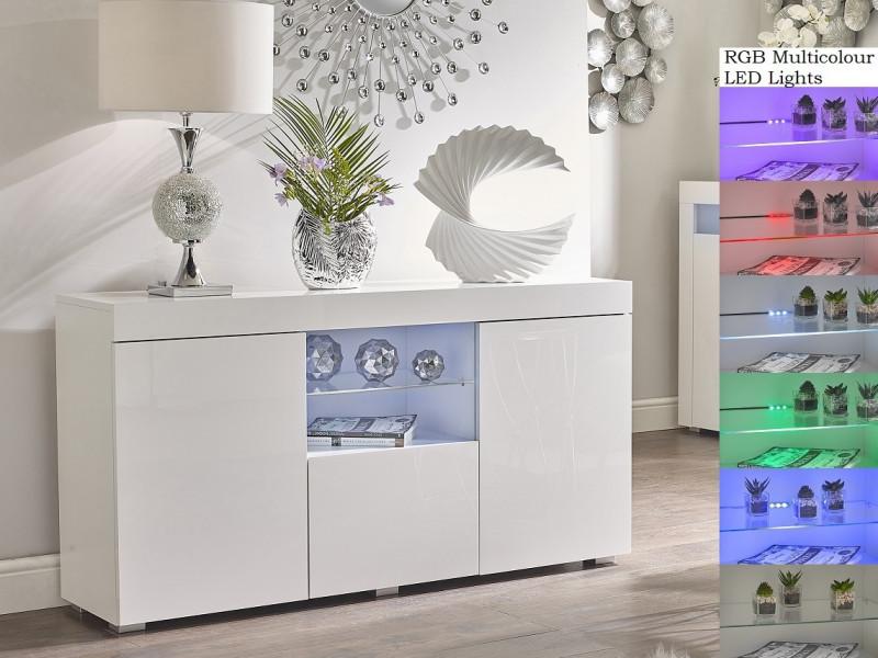 Modern Lowboard Sideboard Display Cabinet Buffet White Gloss RGB LED lights - Lily (STO-LILYGLASS-BI/BIP-KP01-LED-RGB)